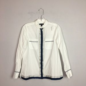 J. Crew navy and white button down blouse size 2
